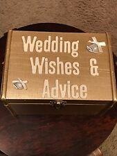 Set of 68 Tan Wishes Cards wedding guest book alternative and Champagne Gold Box
