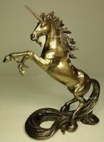 REARING UNICORN W/ LONG TAIL DECOR Sculpture Figurine Statue Bronze Color