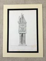 1857 Antique Architecture Print Italy Verona Cathedral Grave Mausoleum Tomb