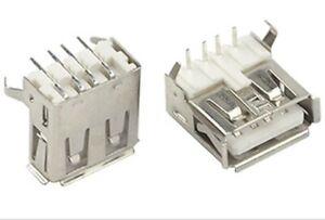 lot 2 connecteurs USB type A femelle à souder à angle droit 4 broches
