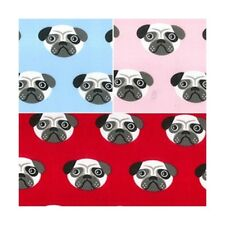 Polycotton Fabric Pug Dog Faces Puppies Puppy Dogs