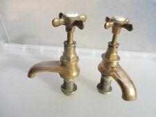 Victorian Bronze Sink Basin Taps Architectural Antique Porcelain Caps Vintage