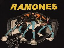 Vintage RAMONES ROAD TO RUIN Punk Rock Tour Black Color Paper Thin T Shirt.