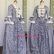 Marie Antoinette Robe a l'Anglaise Polonaise Cosplay Costume Dress Cotton AH