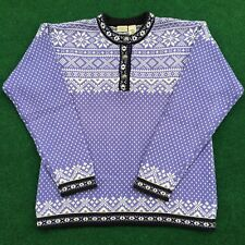 Womens LL Bean Purple Knit Sweater Large Snowflakes Hearts Henley Cotton