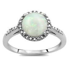 Women Rhodium Plated Silver Simulated White Opal Small Accent Halo Ring