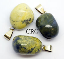 Tumbled Serpentine Pendant with Gold Plated Bail (TU15-P) Large