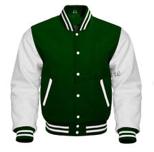 Varsity  Letterman Forest green Wool & Genuine White Leather Sleeves Jacket