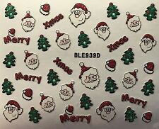 Nail Art 3D Glitter Decal Stickers Merry Christmas Tree Santa Hat Xmas BLE939D