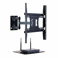 "Swivel Tilt Cantilever TV Wall Bracket 22 - 50"" with Floating Glass DVD AV Shelf"