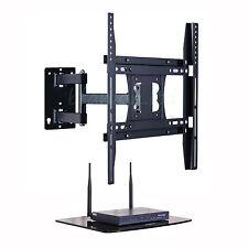 """Swivel Tilt Cantilever TV Wall Bracket 22 - 50"""" with Floating Glass DVD AV Shelf"""