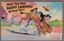 vintage 1940s Happy Landings on your Trip, Colourpicture #562, unposted