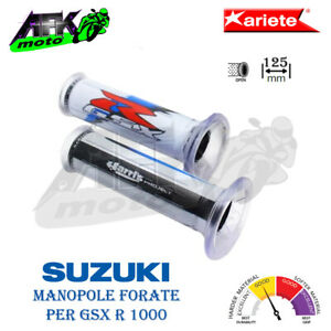 Manopole Forate 125mm D.Ø 22/25 Harris Bianco/Blu Suzuki GSX R 1000 2001 al 2018