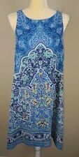 Max Studio Women's Blue Floral Chiffon Lined Sleeveless Sun Dress sz S