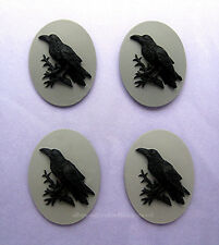 Gray Grey 40mm x 30mm craft Cameos Emo 4 Black Bird Goth Punk Emo Crow Raven on