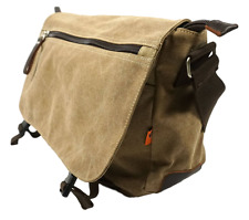 "Khaki 14"" to 15"" Laptop Notebook Tablet Canvas Messenger Bag Brown Leather Trim"