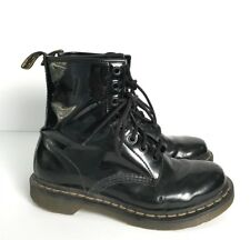 Doc Dr. Marten Unisex Boots US Sz 8 Black Patent Leather 8 Eyelet Combat Punk