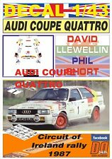 DECAL 1/43 AUDI COUPE QUATTRO D.LLEWELLIN C.OF IRELAND 1987 2nd (09)