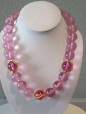 RARE NAPIER PINK LUCITE BEAD NECKLACE. FROSTED AND CLEAR, WITH WIRE WRAP