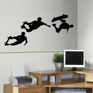 LARGE SKATEBOARD SKATE BEDROOM WALL MURAL ART STICKER TRANSFER DECAL STENCIL
