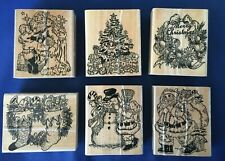 VTG Christmas Rubber Art Craft Stamps(6)~Santa, Wreath, Stockings, Snowman, Tree
