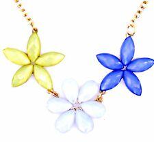 Collar Cadena de oro de tono de Acrílico Flor