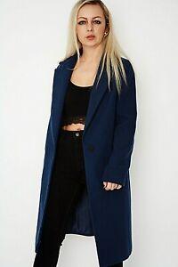 New Women Ex Miss Selfridge Air force Blue Lapel Collar Fully Lined Coat Size 10