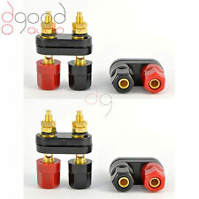 4 x Double Gold Plated Speaker Binding Posts Terminals 4mm Banana Connectors