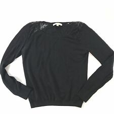 Ann Taylor Loft Black Linen Top Medium Lace Detail Crewneck Pullover Sweater