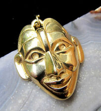 14K Yellow Gold 585 Tribal Smiling Mask Solid Cast Charm Amulet Pendant 1980s