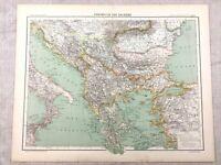1894 Antique Map of The Balkan Peninsula Balkans Original 19th Century French