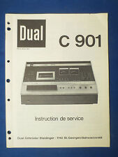 DUAL C901 CASSETTE SERVICE MANUAL ORIGINAL FACTORY FRENCH ISSUE