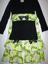 Green Pink Ivory Floral Medallion Top Black Polka Dots Ruffled Pants Outfit 4-5
