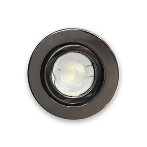 10 x Large102mm Black Chrome Standard GU10 Tilt Ceiling Downlight Spotlights