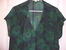 NEW Michael Kors Womans Black Purple Green Peacock Feather Pattern Top Size XL