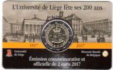 NEW !!! Coin Card 2 EURO COMMEMORATIVO BELGIO 2017 Università di Liegi (Francia)