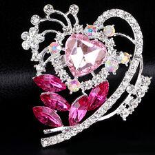 Brooch Pins Wedding Fashion Jewelry Women Crystal Rhinestone Silver Flower Heart