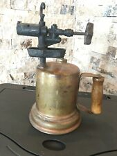 Vintage Antique Brass Blow Torch Tool CS2 With Wood Handle Display Piece Mancave