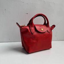 Longchamp Le Pliage Cuir mini Leder Damentasche Schultertasche Handtasche Rot