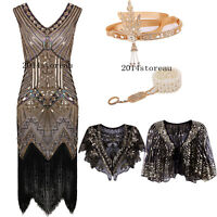 Flapper 1920s Dress Great Gatsby Charleston Tassel Party Sequin Roaring Costume