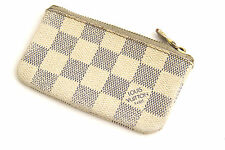 LOUIS VUITTON Damier Azur Key Pouch Check White Blue Canvas Coin Card Wallet