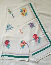 "Vintage 1940's Floral Tablecloth - 54"" x 48"""
