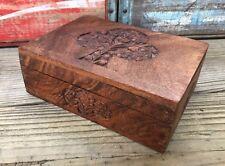 Vintage Handcrafted INDIA Carved Wood Jewelry Keepsake Box