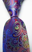 New Classic Paisley Red Blue White JACQUARD WOVEN 100% Silk Men's Tie Necktie