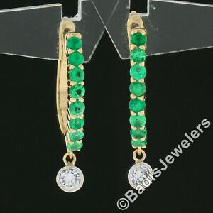 NEW 14k TT Gold .90ct Shared Prong Emerald w/ Diamond Bezel Dangle Hoop Earrings