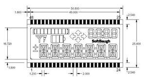 LCD 4-mux, Transflective, 7 digits x 14 segments, bar, arrows