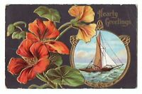 1914 Hearty Greetings Embossed Postcard Sailboat & Flowers