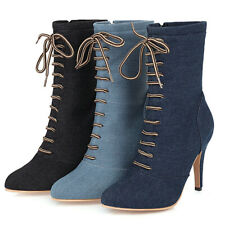 Women's Combat  Boots Denim Zip Lace Up Pointed Toe Stiletto Heeled Short Bootie