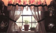 "70"" Victorian pink Shabby Peony-Rustic Chic BURLAP RUFFLED Valance Curtain Black"