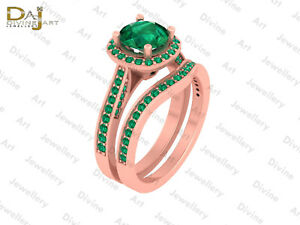 Emerald Engagement Ring Eternity Band Set Bridal Wedding Set 925 Sterling Silver